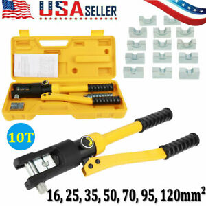 10t Hydraulic Wire Cable Battery Lug Crimper Terminal Tool W 7 Dies 16 120mm