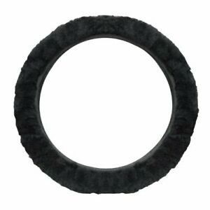 Cutequeen Trading Sheepskin Stretch on Steering Wheel Cover Black