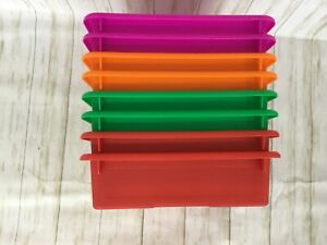 8 Pack Paper Organizer Bins Plastic Turn In Tray Colorful Classroom File Holder