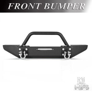 Fit 1986 2006 Jeep Tj Yj Black Textured Front Bumper Rock Crawler W Winch Plate