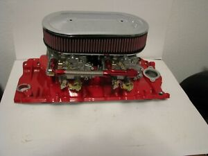 Bb Chevy 396 427 454 496 502 Edelbrock Dual 4 Intake With Carbs