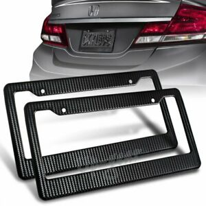 Universal Jdm Black Carbon Look License Plate Frame Cover Front Rear 2pcs