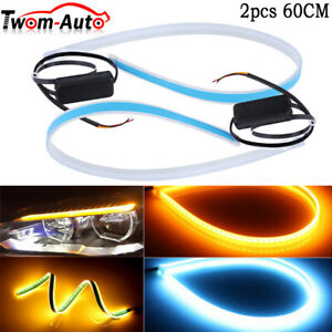 60cm Led Drl Light Slim Amber Sequential Flexible Turn Signal Strip Headlight Us