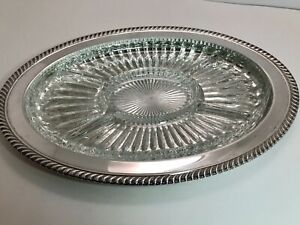 Vintage Etched Silverplate Serving Tray With Divided Glass Insert
