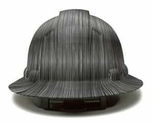 Metal Stripes Full Brim Hard Hat Custom Hydro Dipped Safety Helmet