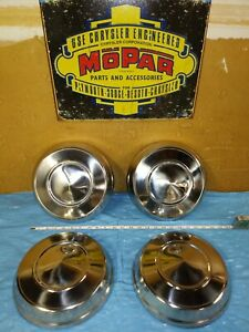1962 65 Dodge Plymouth Max Wedge 10 Dog Dish Hub Caps Set Of 4 Oem Nos Mopar