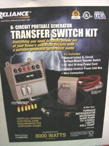 Reliance Controls Manual Transfer Switch 306cdkn 6 Circuit new 20ft Cord