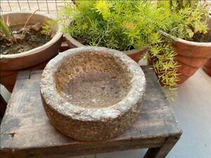 1700 S Antique Old Hand Caved Indian Stone Mortar Bowl Garden Decorative Bowl