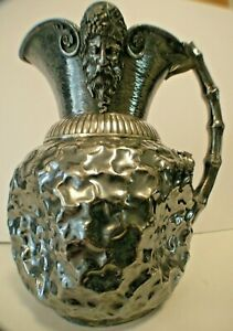 Antique Figural Derby Aesthetic Silver Plate Lg Wine Pitcher Bucchas Frog Bamb