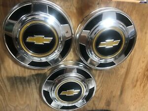 Lot Of 3 Vintage Chevy Dog Dish Hubcaps