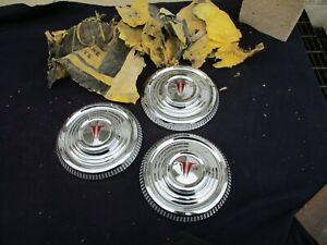 Nos 1963 Oldsmobile F 85 Cutlass Dog Dish Hub Caps Set Of 3 Olds Hubcaps