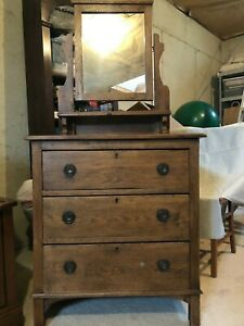 Antique Oak Dresser W Mirror English Origin Circa 1920 30