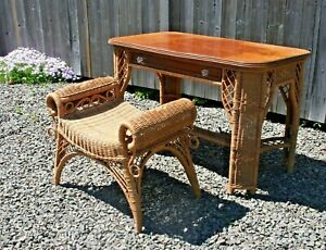 Vintage Lexington Henry Link Wicker Rattan Desk Vanity Table Bench Seat