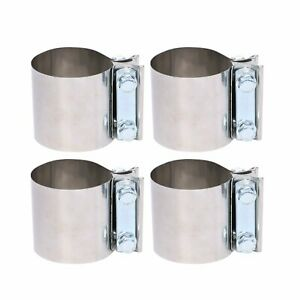 4x 3 Stainless Exhaust Band Clamps Lap Joint Sleeve Coupler For Catback Muffler