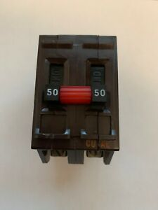 Wadsworth 50 Amp Double Pole 2p 50a Circuit Break Metal Feet Tested