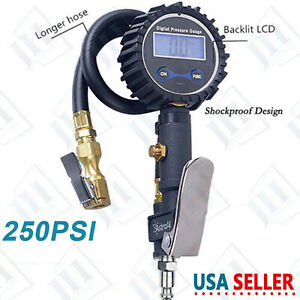 Digital Tire Inflator With Pressure Gauge 250 Psi Air Chuck For Truck car bike