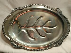 Antique English Silver Plated Meat Serving Tray W Well Holiday Dinnerware
