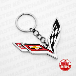 3d Corvette Logo Car Home Alloy Key Chain Fob Ring Gift Decoration Accessories