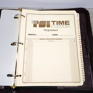 Tsi Time Systems Cranberry Red Leather Organizer Vtg 1980s Planner W Inserts