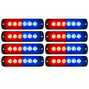 8x Car Truck Red Blue 6led Strobe Emergency Flashing Warning Light Bar 12 24v
