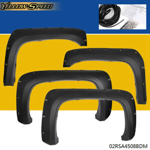 Textured Black For 07 14 Chevy Silverado 1500 2500hd Pocket Rivet Fender Flares