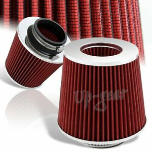 High Flow Chrome Round Red Mesh Gauze Short Ram Cold Air Intake Turbo Filter 3