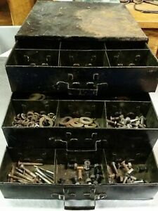 Vintage 3 Drawer Tin General Store Factory Cabinet W Screws Nuts Bolts Hardware