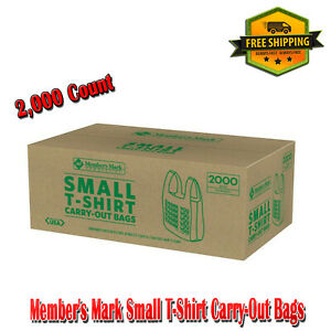 Member s Mark Small T shirt Carry out Thank You Bags 2 000 Count Plastic Tote