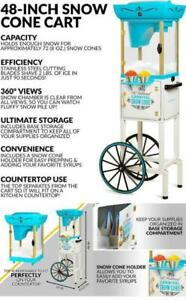 Rolling Carnival Tall Snow Cone Cart Machine Makes 48 W storage Wheels Scoop New