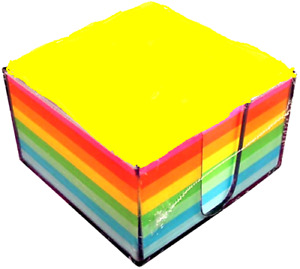 Sticky Notes Memo Cube W Tray 3 5 X 3 5 500 Sheets In Fluorescent Colors