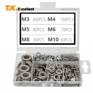 Flat Washer 304 Stainless Steel Washers Assortment Set Value Kit 660 Pieces