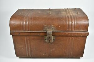 Vintage 1900 S Tin Metal Steamer Trunk Chest Small Travel Size Class English