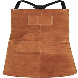 Leather Welding Apron Heat Flame resistant Heavy Duty Work Apron With 6 Pock
