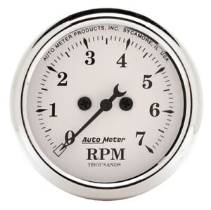 Auto Meter 1694 2 1 16 In dash Tachometer 0 7 000 Rpm Old tyme White New