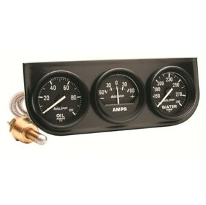 Auto Meter 2393 Autogage Oil Water Pump Amp Gauge Console 2 1 16 New