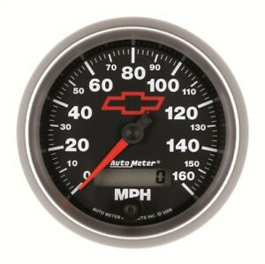 Auto Meter 3688 00406 Speedometer 3 3 8 160mph For Chevy Red Bowtie Blac New