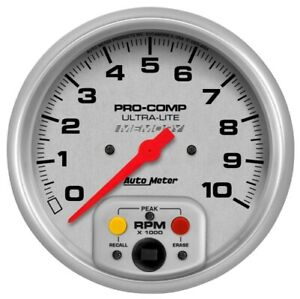 Auto Meter 4494 5 Ultra lite In dash Tachometer Gauge 0 10 000 Rpm Memory New