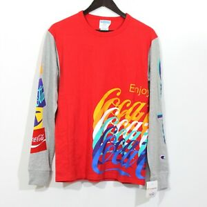 Champion x Coca Cola LS Spelled Out Crew Neck Tee Shirt $45