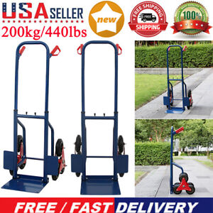 Heavy Duty 440lbs Hand Truck Cart Dolly For Warehouse Stair Climbing Moving