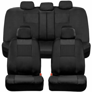 Bdk Two tone Pu Leather Car Seat Covers Full Set Front Rear Black