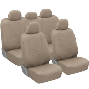 Carxs Luxurious Pu Leather Car Seat Covers Full Set Front Rear In Tan Beige