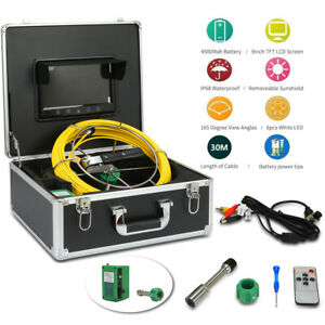 New 30m Sewer Waterproof Camera Pipe Pipeline Drain Inspection System 9 Lcd