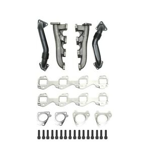 High Flow Exhaust Manifold Up Pipe Kit For 01 16 Gmc Chevy 6 6l D