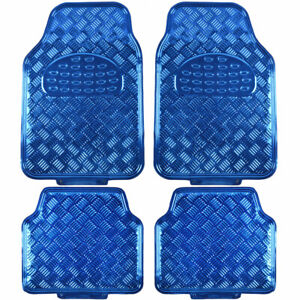 Carxs Blue Metallic Rubber Floor Mats Set 4pc Car Interior Set Auto Accessories