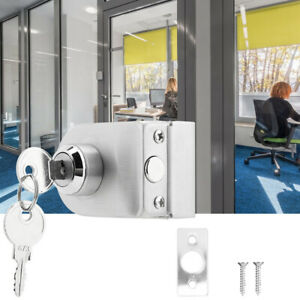 Stainless Steel Single Glass Door Lock With Keys Semicircle For Home Security