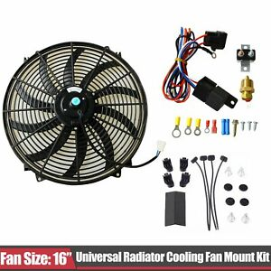 16 Electric Radiator Cooling Fan Thermostat Wiring Switch Relay Kit Black