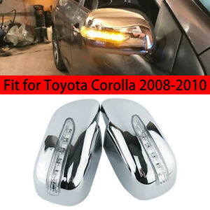 1pair L R Led Light Side Mirror Cover Shell Fit For Toyota Corolla 2008 2010