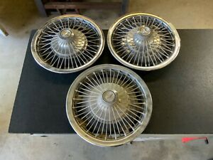 1970s 15 Wire Wheel Hubcaps Set Of 3 For Chevrolet Usa