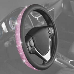 Carxs Shiny Crystal Steering Wheel Cover Soft Leather Grip Universal Fit Bling