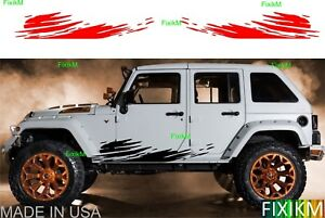 2x Vinyl Graphics Mud Splash Off Road Side Decal Cars Trucks Suv Trailer 4x4 4wd